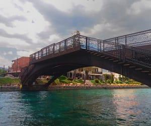 art, bridge, and river image