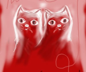 art, cats, and red image