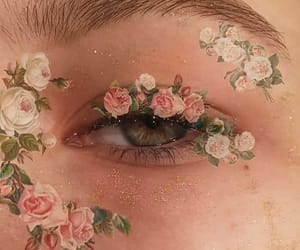 flowers, makeup, and eyes image