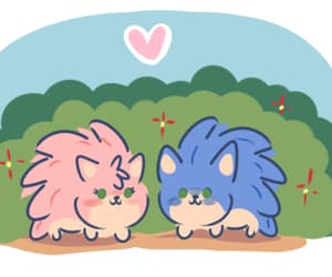 blue, pink, and sonic image