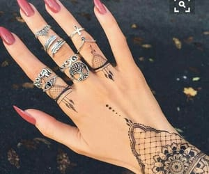 nails, tattoo, and rings image
