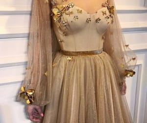 dress, gold, and flowers image