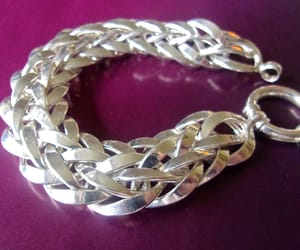 bracelet, sterling silver, and woven image