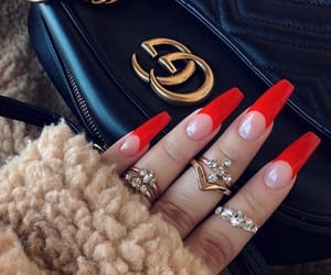 gucci, nails, and red image