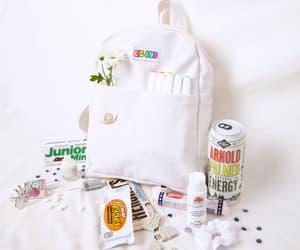 white backpack, white aesthetic, and white image