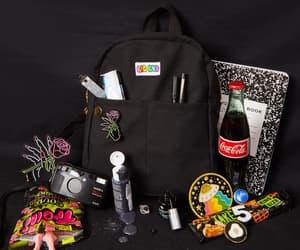 black, black moodboard, and black backpack image