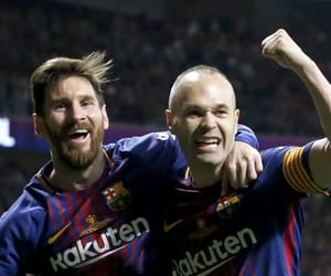Barcelona, messi, and iniesta image