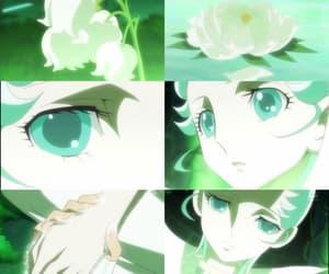 anime, olhos verdes, and flor image
