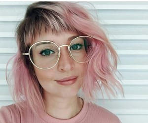 glasses, hair, and pastel image