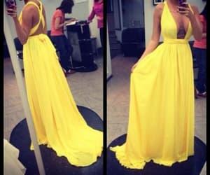 maxi dress, prom dress, and yellow dress image