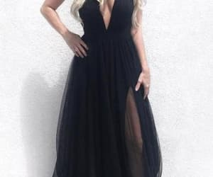 long black prom dress, prom dress with slit, and black tulle prom dress image