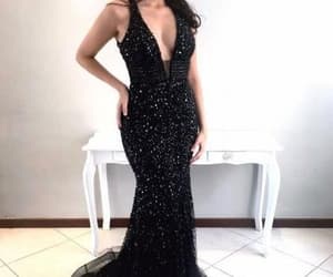black mermaid prom dress, long formal gowns, and long sexy prom dress image