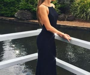 black lace prom dress, long black prom dress, and backless party dress image
