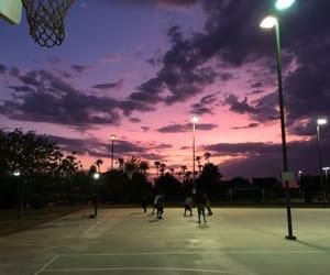 sky, sunset, and Basketball image