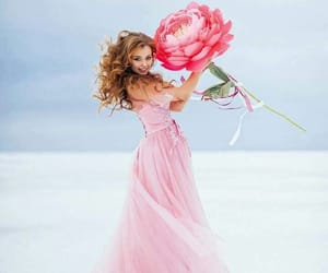 photoshop fun, pink dress redhead, and giant pink flower image