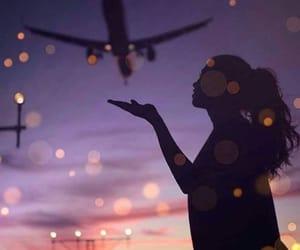 airplane, light, and sky image