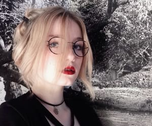 black, glasses, and red lips image