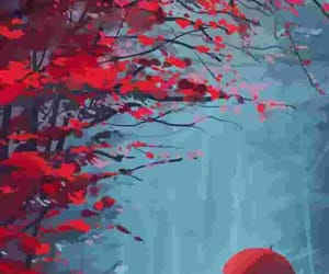 anime, red, and umbrella image