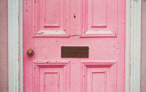 pink, door, and vintage image
