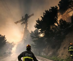 firefighter, plane, and firesquad image