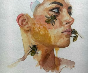 art, bees, and brown image