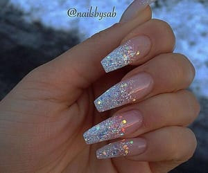 nails, acrylic nails, and glitter nails image