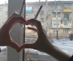 cigarette, love, and hands image
