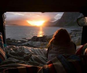 travel, sunset, and sun image