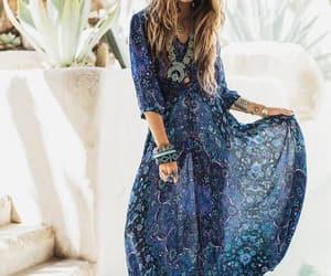 dress, blue, and boho image