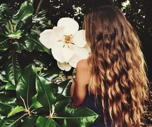 hair, flowers, and summer image