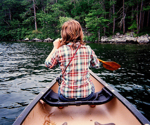 girl, nature, and boat image