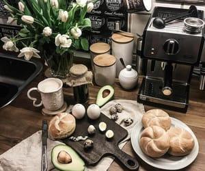 avocado, croissant, and coffee machine image