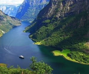 boat, nature, and fjord image