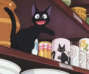 anime, kiki's delivery service, and cat image