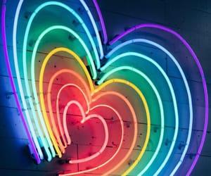 heart, light, and rainbow image