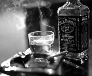 jack daniels, cigarette, and smoke image