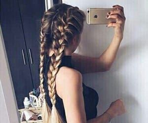 hair, braid, and iphone image