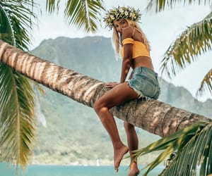 beach, flowers, and bikini image