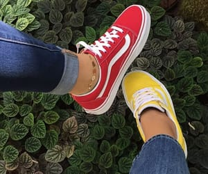 red, vans, and yellow image