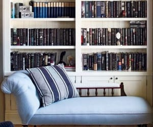bookshelves, interior decorating, and chaise image