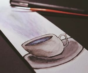 watercolor, black, and coffee image