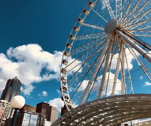 city, clouds, and ferris wheel image