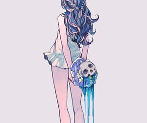 anime girl and skull image