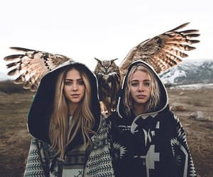 girl, animal, and owl image
