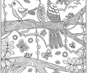 birds, leaves, and zentangle image