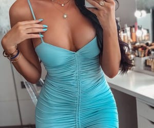 blue dress, nail polish, and fashion inspo image