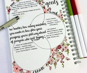 bullet journal, flowers, and goals image