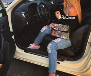 girl, car, and gucci image