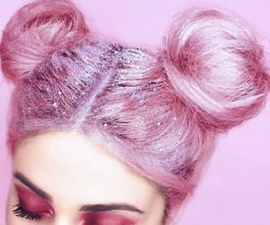 glitters, pink hair, and sparkles image