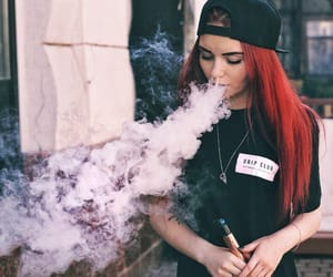 hairstyle, red hair, and vape image